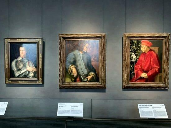Ritratti di Cosimo I (Bronzino), Lorenzo il Magnifico (Giorgio Vasari) e Cosimo il Vecchio (Pontormo)